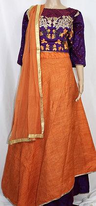 Festive Designer Purple and Rust Lehenga Choli Suit (L)