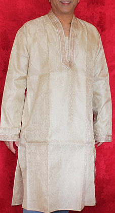 Cream Silk Kurta for Men w/ Embroidery (L 42'')