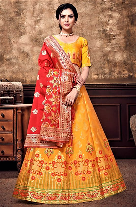 Banarasi Yellow Lehnga