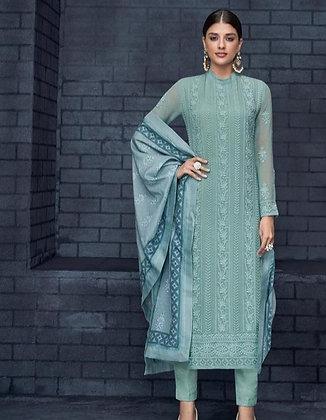 Teal Blue Embroidered Lakhnavi Straight Suit (M/L)