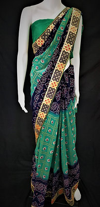 Green and Blue Bhandej printed Saree