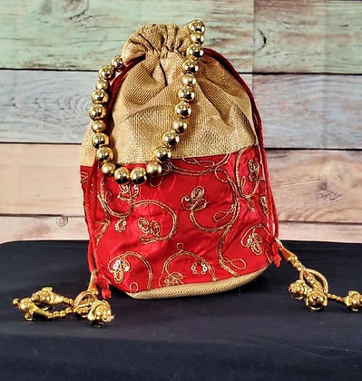 Gold and Red Pink Embroidered Potli Bag