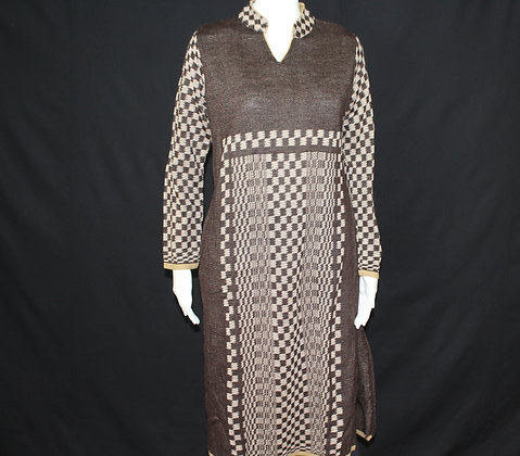 Brown Mustard Black woolen kurti( S )