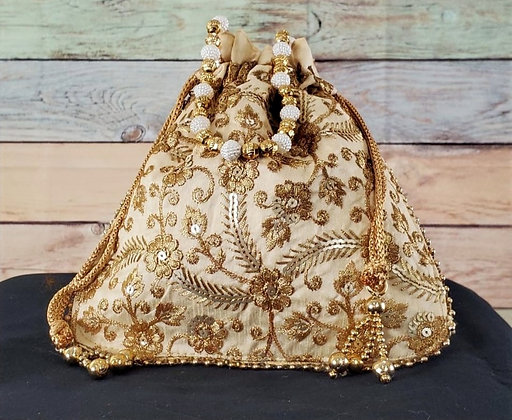 Gold Embroidered Potli Bag