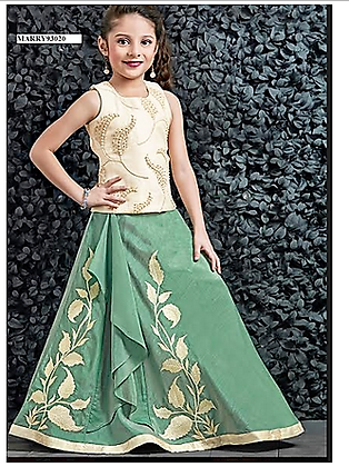 Green and Cream CropTop ( 7 to 8 yr)