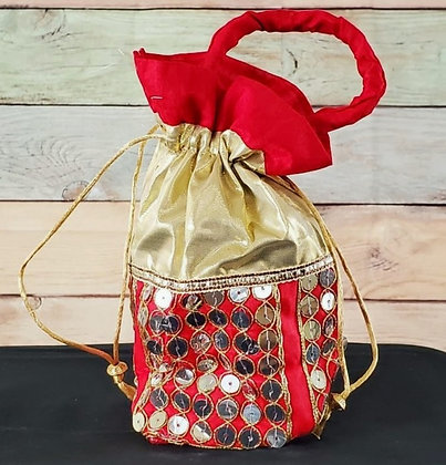 Red and Gold Embroidered Potli Bag