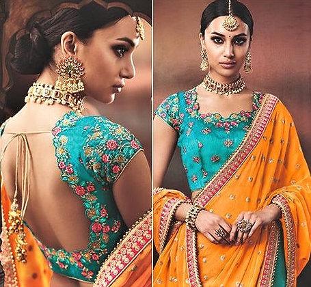 Orange Green Silk Georgette Sari
