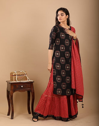 Black Kurti with Maroon Skirt