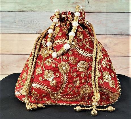 Red Embroidered Potli Bag