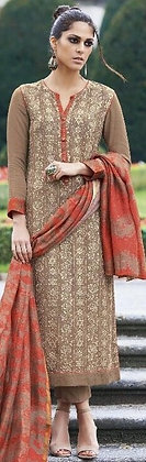Fully Embroidered Brown Sand Rich Spun Cotton Churidar Suit