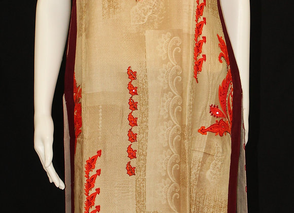 Fawn base with Red design soft cotton Kurti ( M )