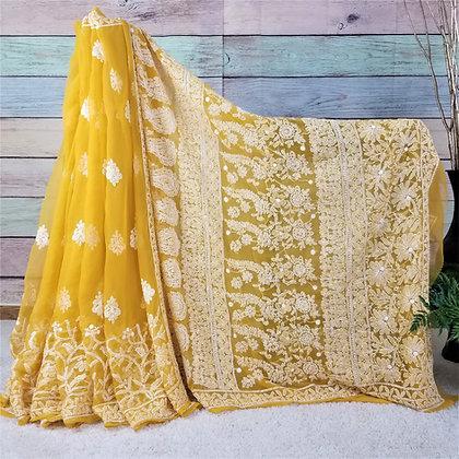 Mango Yellow Georgette saree w/White Embroidery