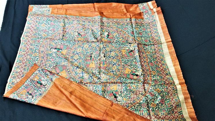 Madhubani handloom Orange silk saree