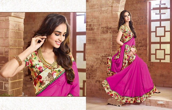 Purple Gorgette Saree with Floral blouse
