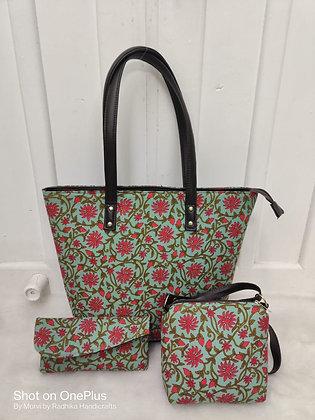 Green&Pink Printed Fabric Tote Shoulder Bag Set