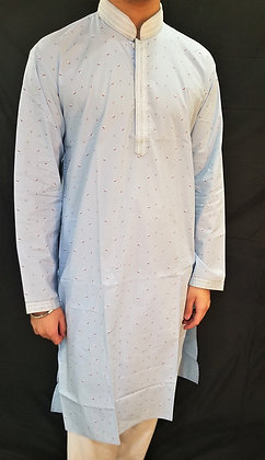 Light Blue Cotton Kurta w/ self-print