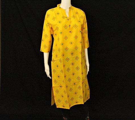 Bright Yellow cotton kurti w/ 3/4 sleeve