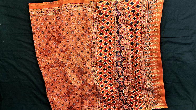Ajrakh print Rust chanderi handloom saree