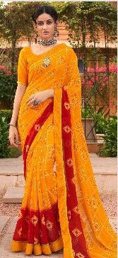 Yellow Georgette sari