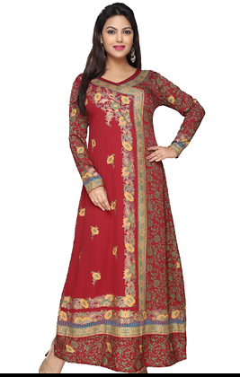 Red full sleeve long kurti