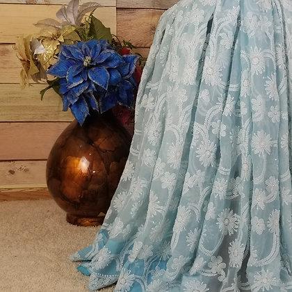 Light Blue Georgette saree w/White Embroidery