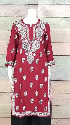 Maroon Cotton Kurti w/ Embroidery