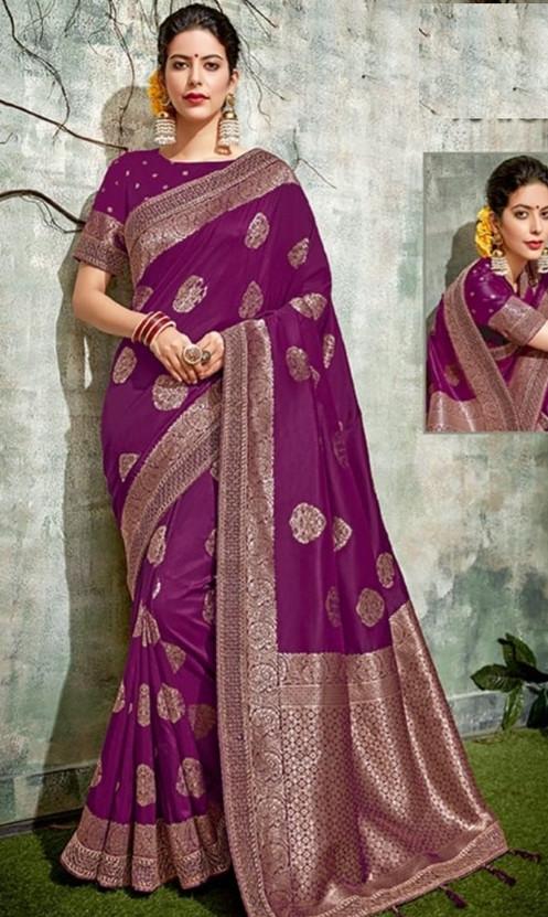 fe5759c43b Purple Banarasi Saree w/ Blouse