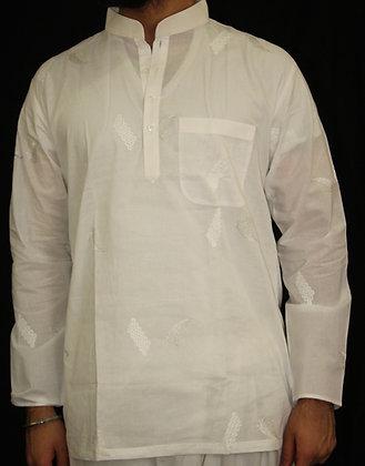 White w/ selfprint cotton Kurta ( S )