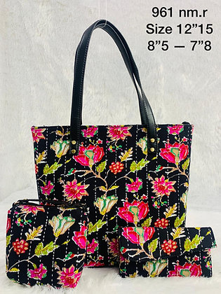Flower Print Fabric Tote Shoulder Bag Set