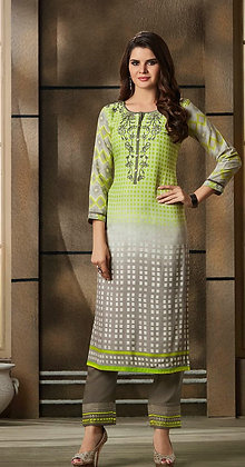 Green Embroidered Kurti w/ Gray Plazzo