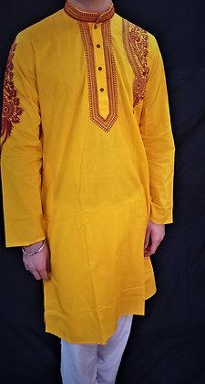 Yellow Cotton Kurta w/ Embroidery
