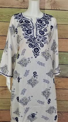 White and Navy Cotton Kurti w/ Embroidery
