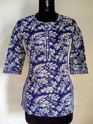 Blue w/White Print Cotton Kurti