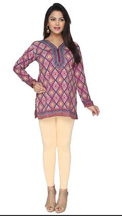 Purple crepe full sleeve short kurti