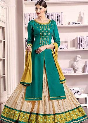 Green & Cream Slit Kurti Lehenga Dress w/ Dupatta