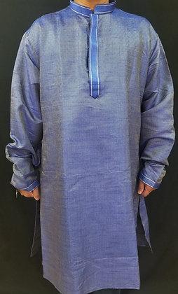 Blue self-print silk Kurta
