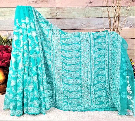 Turquoise Georgette saree w/White Embroidery