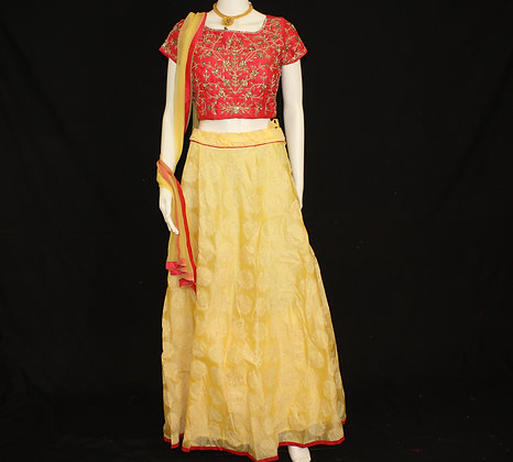 Red and Yellow Ready to wear Crop Top