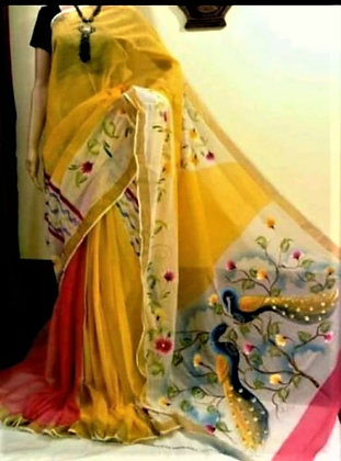 Kerala Cotton Hand painted Sari