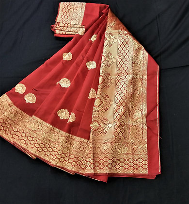 Maroon Art Satin Sari