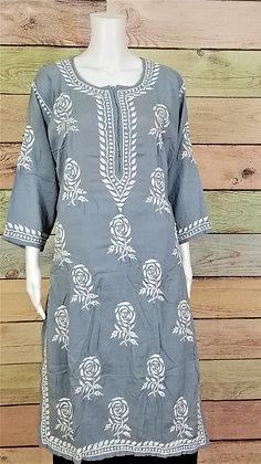 Grey Modal Cotton Kurti w/ Embroidery