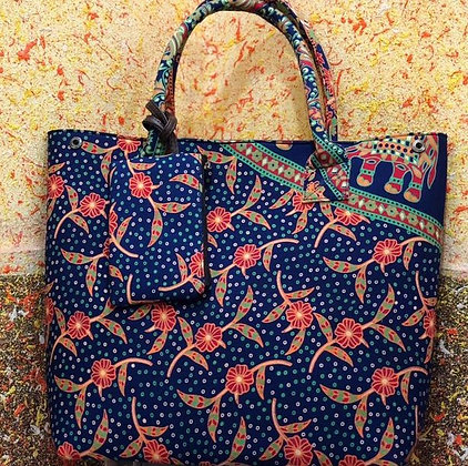 Blue Printed Fabric Tote Shoulder Bag w/Money pouch