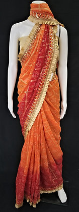 Orange and Red Bhandej printed Saree