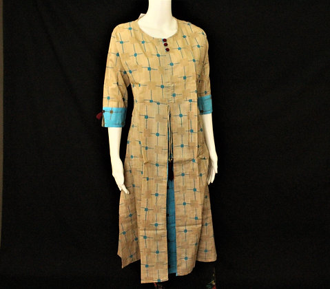 Beige with light blue print cotton kurti w/ 3/4 sleeve