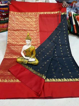 Red and Dark Blue Semi-silk Sari