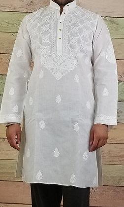 White Embroidered Cotton Kurta