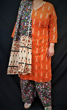 Rust orange combination Soft cotton Salwar Kameez