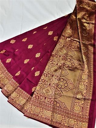 Maroon Dark Art Satin Sari