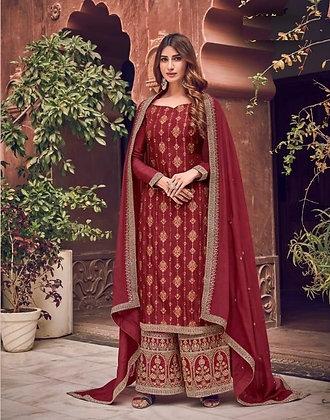 Maroon Embroidered Sharrara Suit