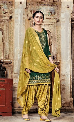 Dark Green embroidered shirt and printed yellow salwar